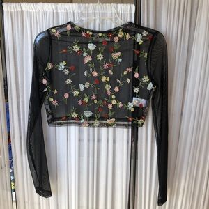 LF Tops - NWOT LF flower embroidered mesh long sleeve top